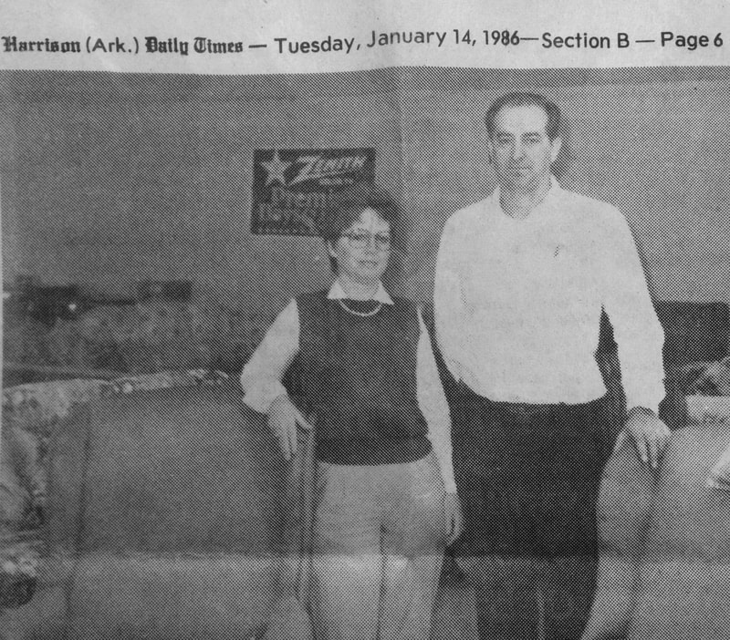 Beverly and Jay Fountain at Fountain Home Center, Harrison Daily Times 1986